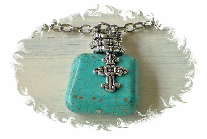 Stacked Ring and Cross Pendant Necklace