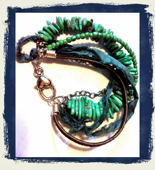Turquoise Multi Strand Bohemian Style Bracelet