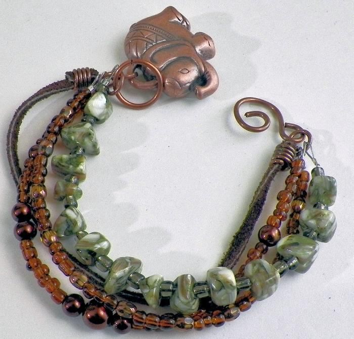 Multi Strand Mop Shell And Seed Bead Bracelet