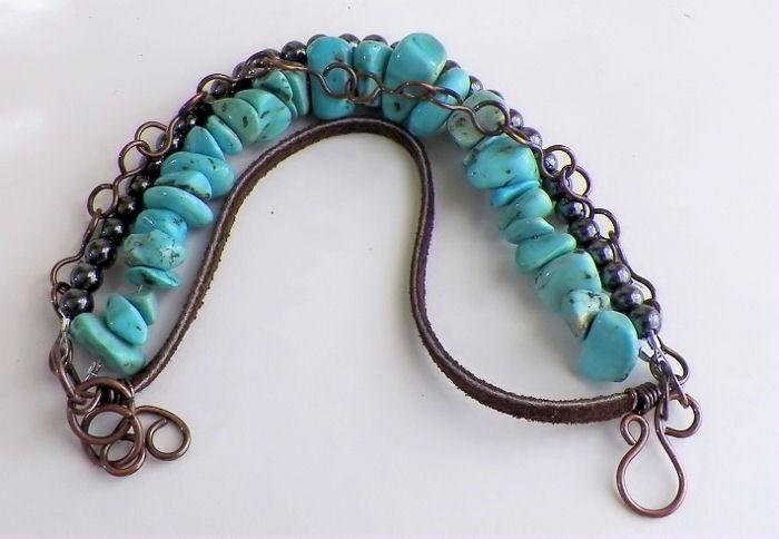 Turquoise Magnestie Hematite Multi Strand Bracelet