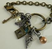 Antique Brass Charm Bracelet