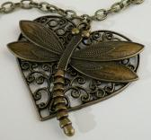 Antique Brass Heart and Dragonfly Necklace