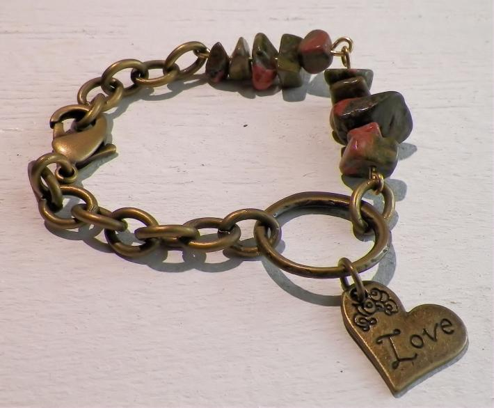 Vintaj and Unakite Charm Bracelet