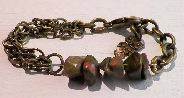 Vintaj Owl and Unakite Charm Bracelet