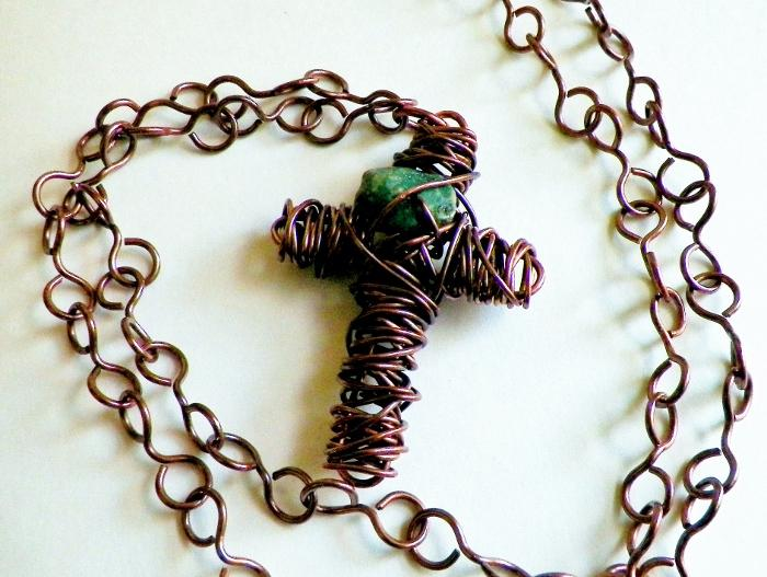 Copper Wire Wrapped Cross Necklace with Turquoise Chip