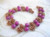 bracelet Copper byzantine chainmail with purple miracle beads