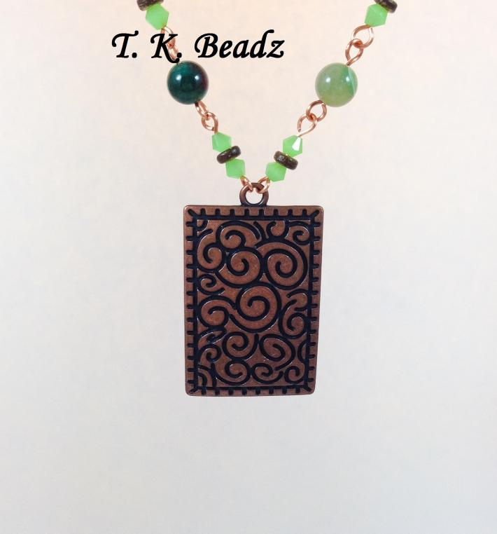Green Aventurine Crystal and Coconut Shell with Copper Rectangle Pendent