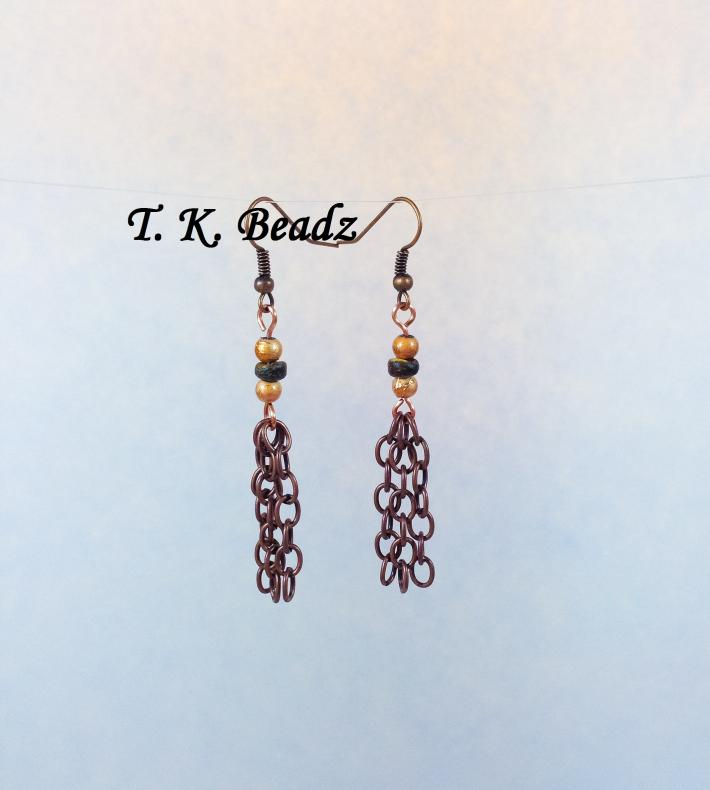 Copper and Coconut Shell Oroborus Tassel Set