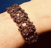 "Copper Byzantine Chainmaille Bracelet 1"" Wide"