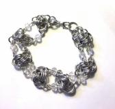 Silver Knot Chainmaille Bracelet with Clear Crystals