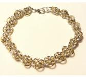 Silver and Gold Sweet Pea Chainmaille Bracelet