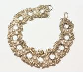 Silver Double Byzantine Bracelet with White Pearls