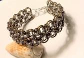 "Silver and Bronze Helms Weave Bracelet 1"" Wide"