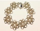Silver and Gold Japanese Flower Chainmaille Bracelet