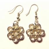 Silver and Gold Japanese Flower Chainmaille Earrings