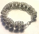 Silver Byzantine and Helms Weave Chainmaille Bracelet