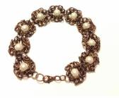 Copper Romanov Byzantine Bracelet with White Pearls