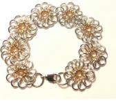 Silver and Gold Chrysanthemum Chainmaille Bracelet