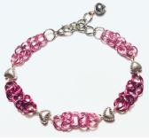 Pink Byzantine Bracelet with Heart Beads