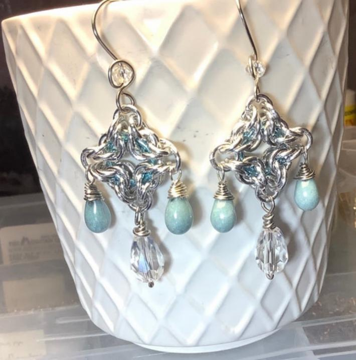 Silver Chandelier Chainmaille Earrings with Blue Teardrops