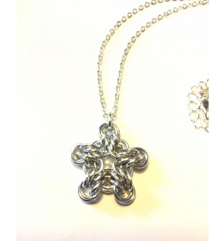 Silver Star Chainmaille Pendant