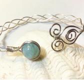 Silver Braided Wire Bangle with Aquamarine Gemstone