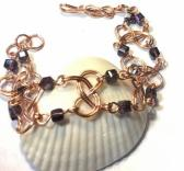 Copper Savoy Knot Bracelet with Purple Crystals