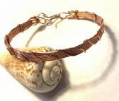 Copper Leaf Pattern Wire Wrap Bracelet