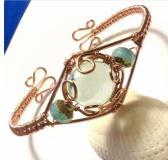 Copper Wire Wrap Bracelet with Aqua Cabochon