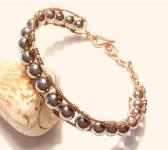 Copper Wire Wrap Bracelet with Silver Hematite Beads