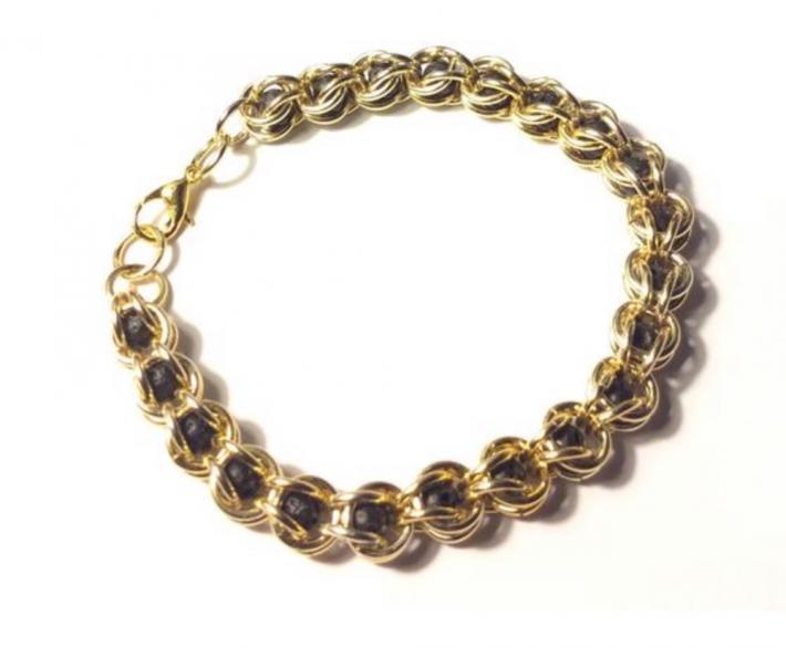 Gold Captured Lava Bead Bracelet