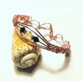 Rose Gold Wire Woven Bracelet with Black and Clear Crystals