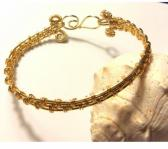 Gold Wire Woven Bangle Bracelet