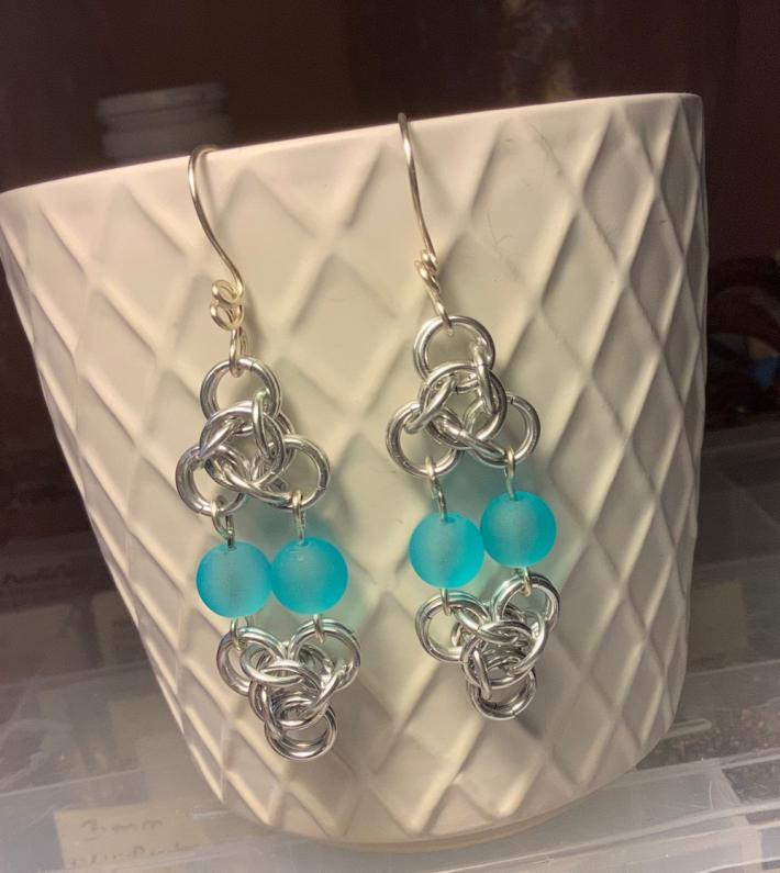 Silver Chainmaille Flower Earrings with Blue Glass Beads