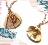 Copper Wire Wrapped Seashell Pendant with Beads