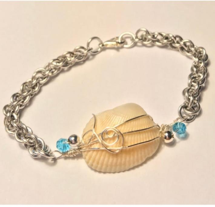 Silver JPL Chainmaille Bracelet with Wire Wrapped White Seashell