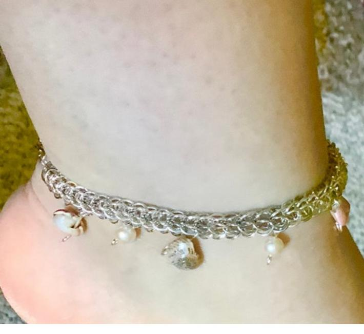 Silver Full Persian Chainmaille Anklet with Seashells and Pearls