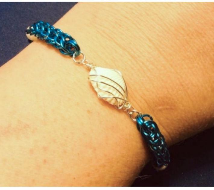 Blue Full Persian Chainmaille Bracelet with Wire Wrapped Seashell