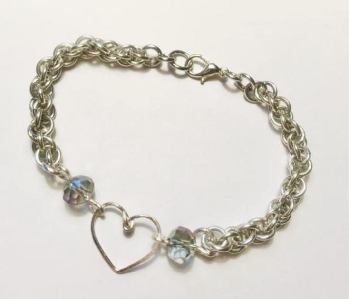 Silver JPL Chainmaille with Heart and Crystal Bead