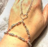 Silver Byzantine Chainmaille Heart Slave Bracelet