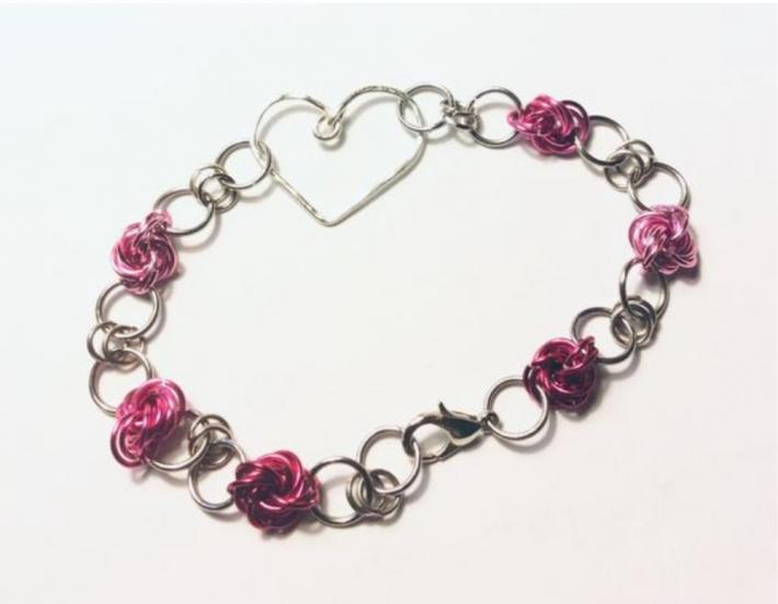 Silver Heart Bracelet with Pink Mobius Knots