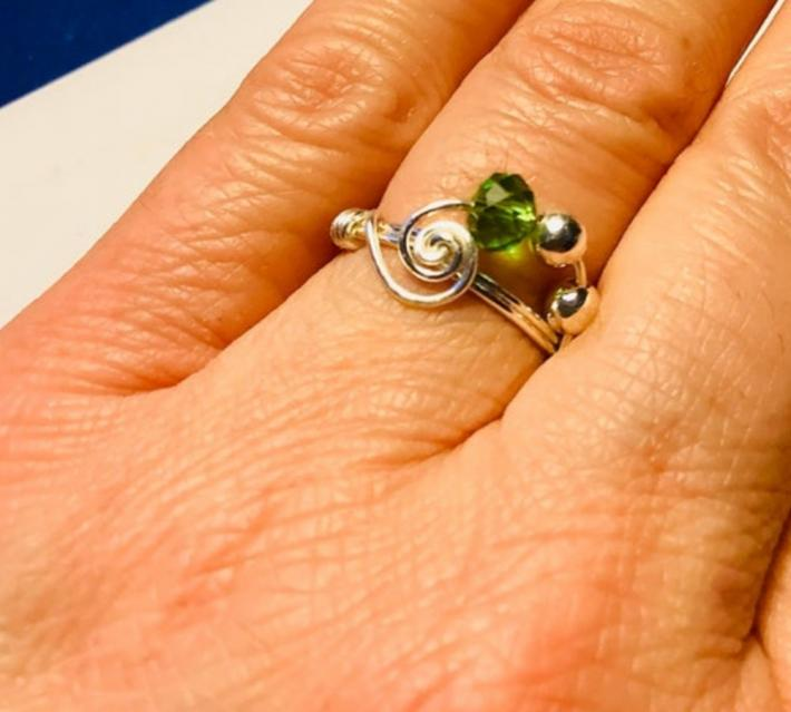 Silver Swirl Ring with Green Crystal