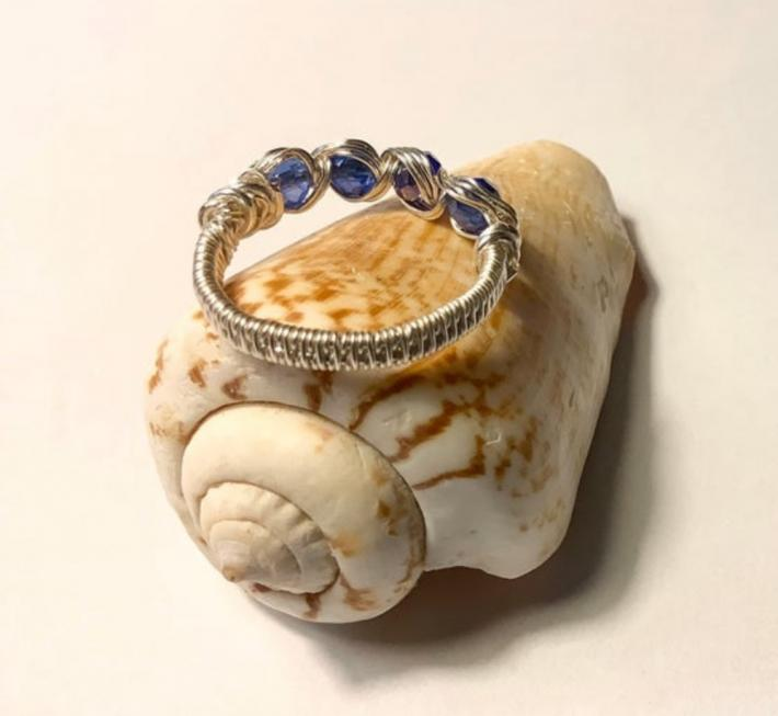 Silver Egyptian Style Wire Wrap Ring with Blue Crystals