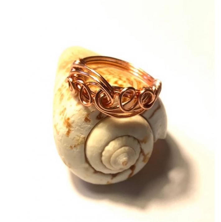 Copper Swirls Wire Wrap Ring
