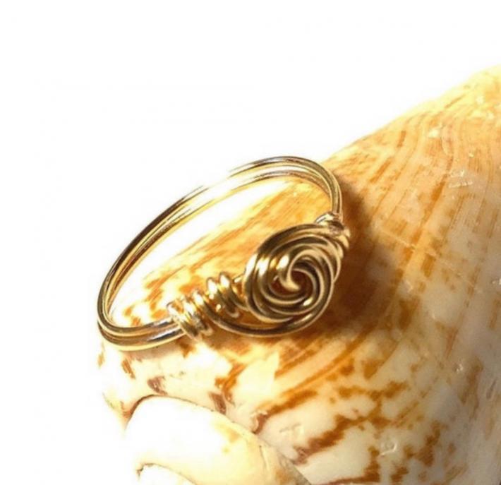 Gold Rosette Swirl Ring