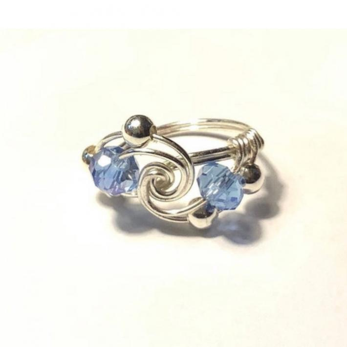 Silver Swirl Ring with Blue Crystals
