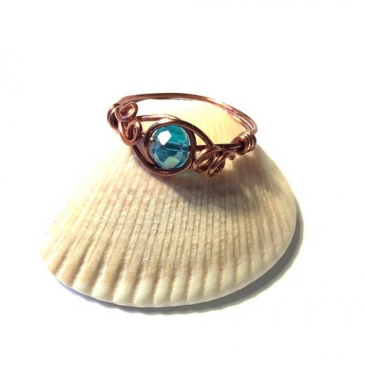 Copper Wire Wrap Ring with Blue Crystal