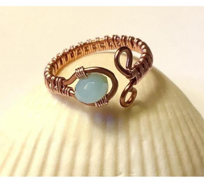 Copper Wire Woven Ring with Blue Crystal