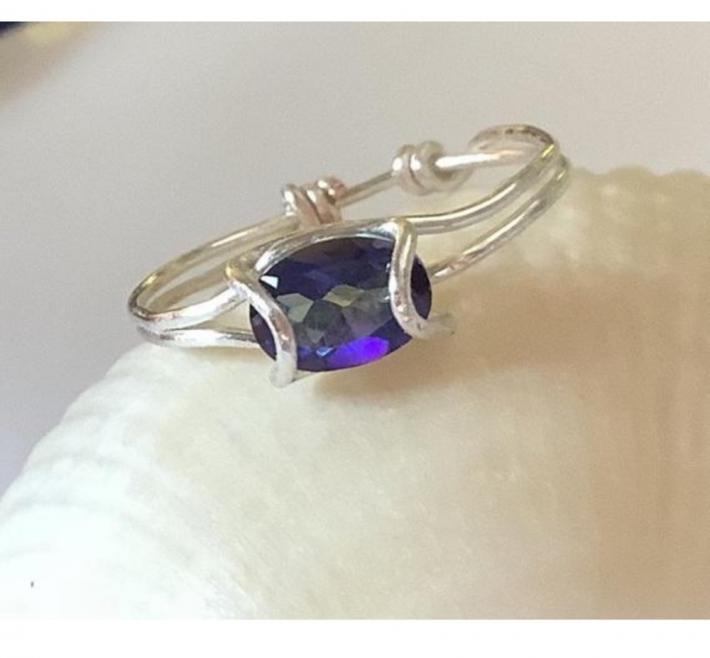 Silver Prong Ring with Mystic Topaz Crystal