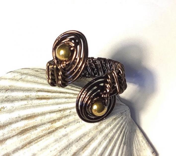 Vintage Bronze Wire Woven Swirl Ring